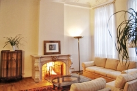 Spacious living room with luxurious marble fireplace